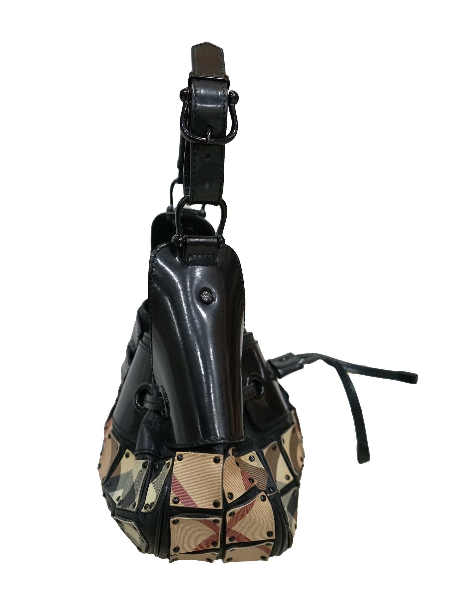 PATENT LEATHER & CHECK WARRIOR HOBO BAG
