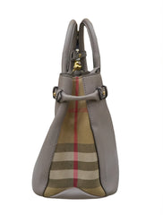 GRAY MEDIUM CHECK BANNER TOTE BAG