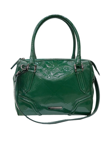 VIRIDIAN GREEN PATENT SATCHEL BAG