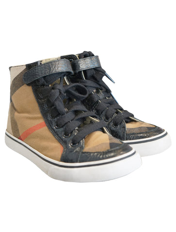 CHECK HIGH TOPS SNEAKERS - kidsstyleforless