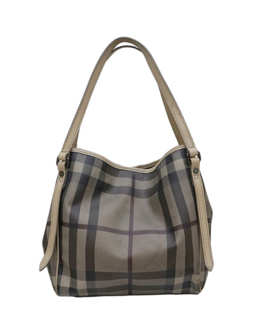 GRAY HAYMARKET NOVA CHECK TOTE BAG