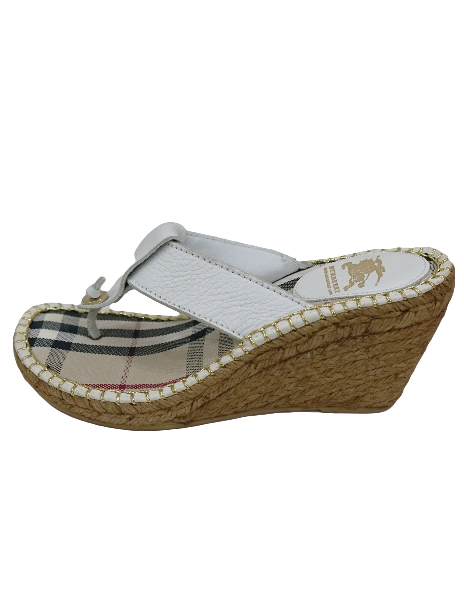 LEATHER ESPADRILLE WEDGE THONG