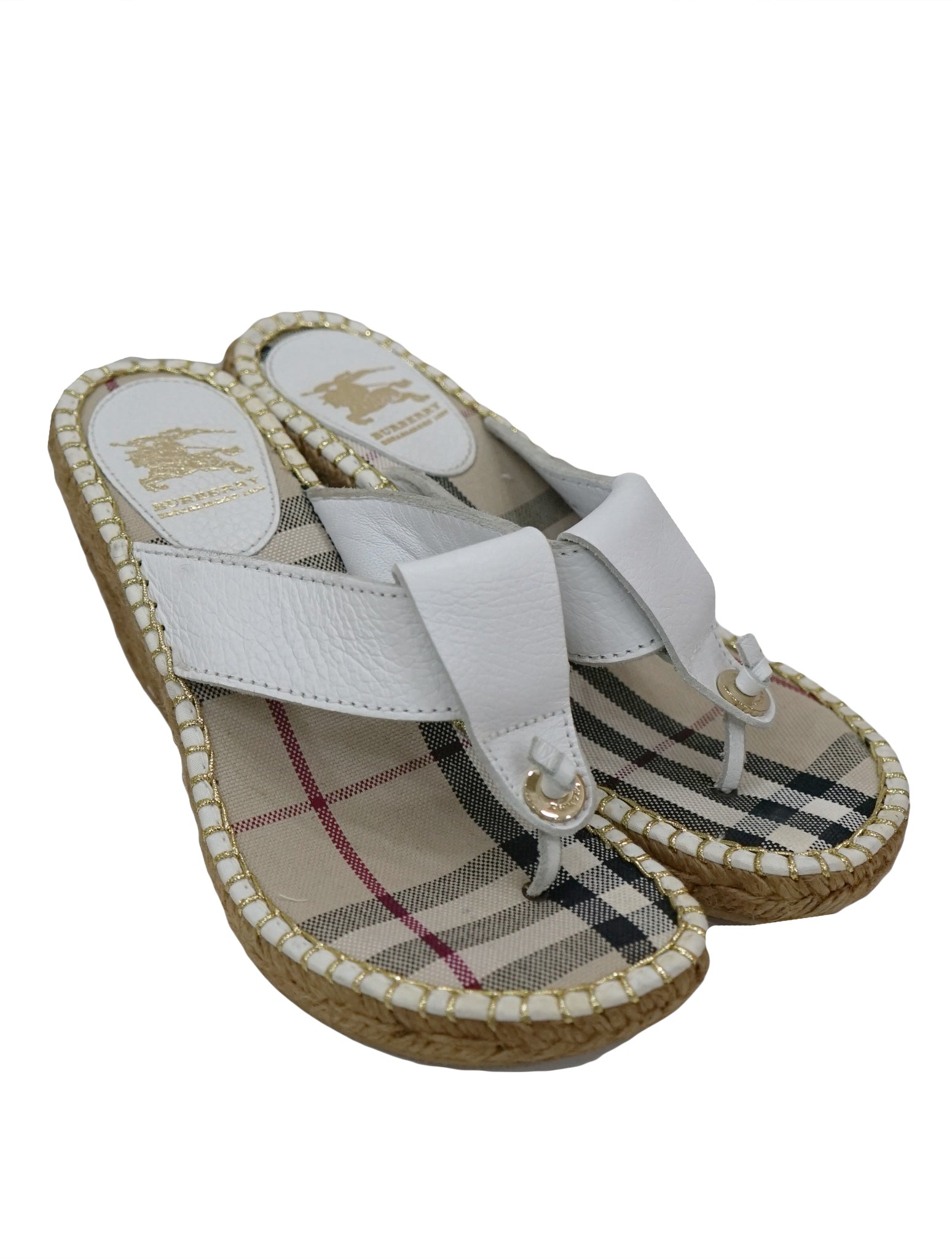 b2a87e36ec7e BURBERRY LEATHER ESPADRILLE WEDGE THONG – Kidsstyleforless