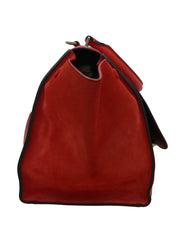 LEATHER AND SUEDE MEDIUM TRAPEZE TOTE