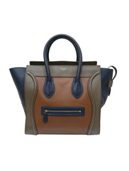 TRICOLORED LEATHER MINI LUGGAGE TOTE BAG