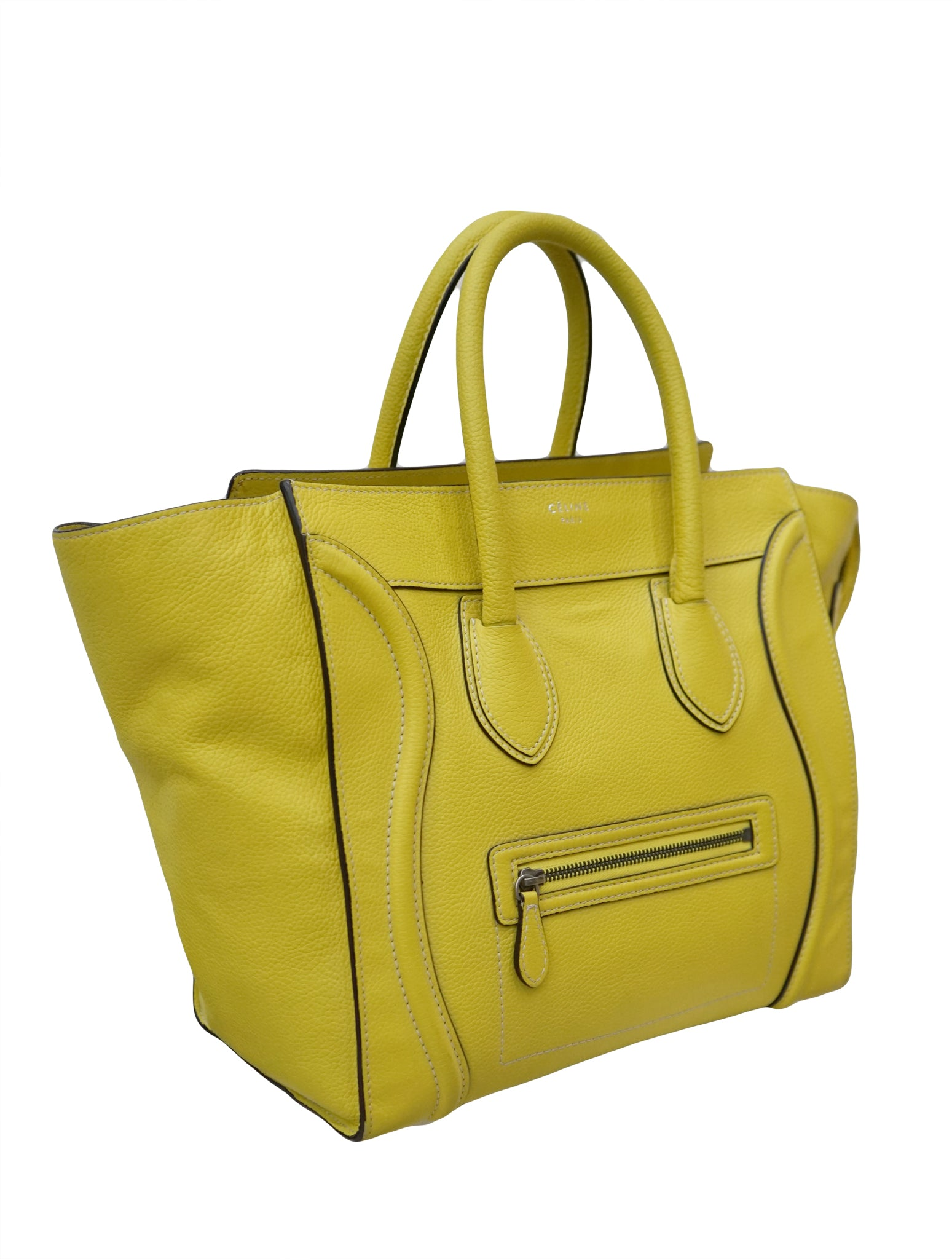CITRON DRUMMED LEATHER MINI LUGGAGE TOTE