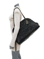 QUILTED PATENT MADEMOISELLE BOWLING BAG