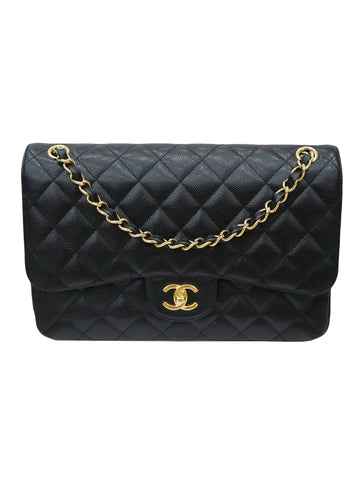 CLASSIC CAVIAR LEATHER DOUBLE FLAP BAG