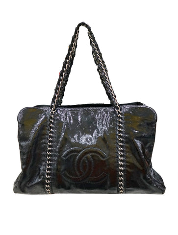 PATENT LEATHER MODERN CHAIN TOTE BAG