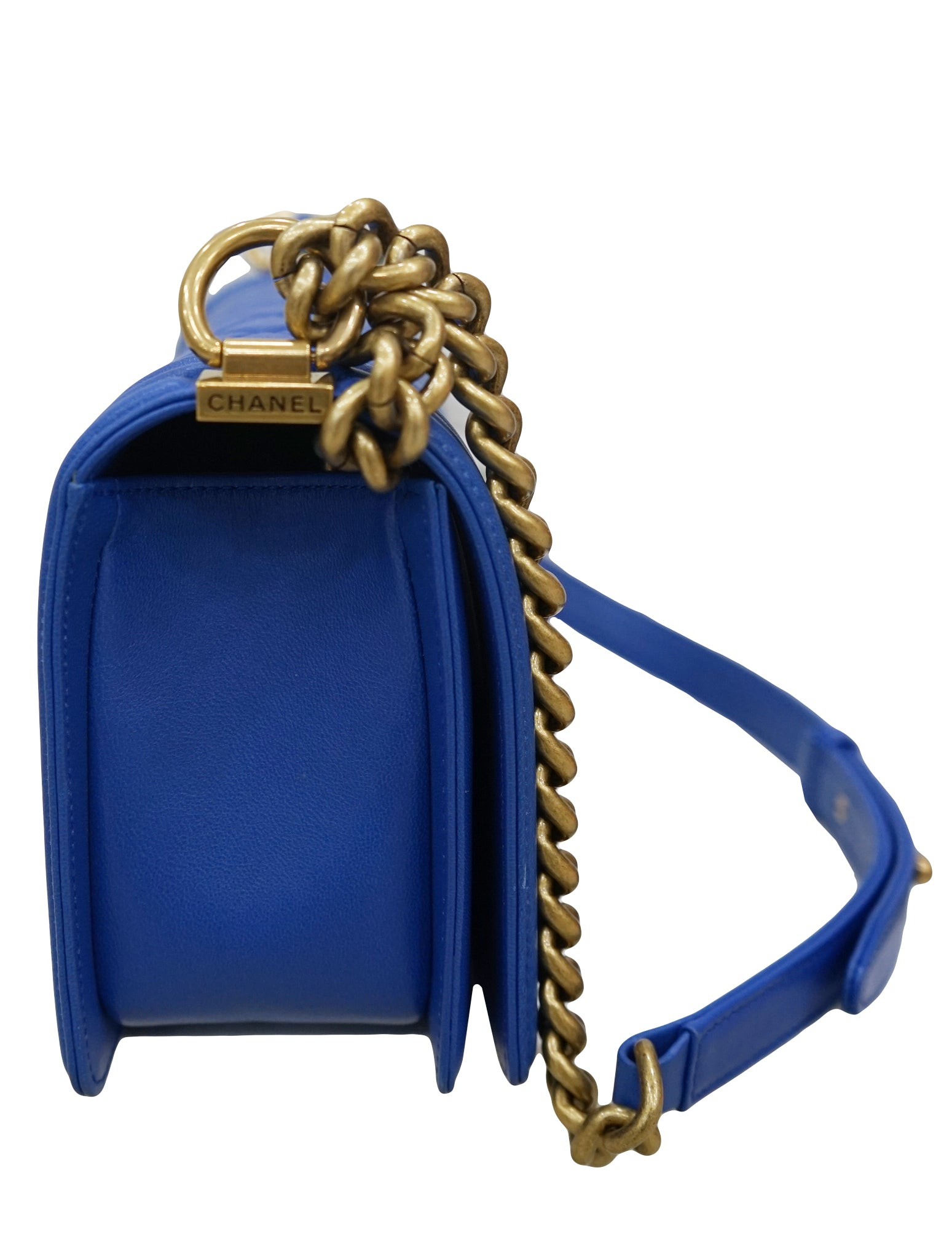 COBALT QUILTED LAMBSKIN LEATHER BOY BAG