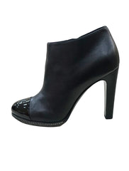 LEATHER CC PATENT CAP TOE ANKLE BOOTS