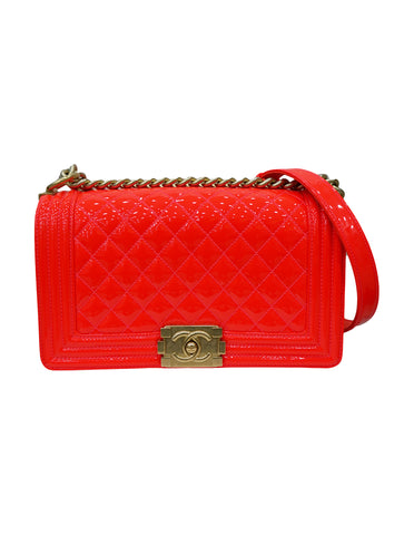CLASSIC FLAP BOY QUILTED PATENT BAG