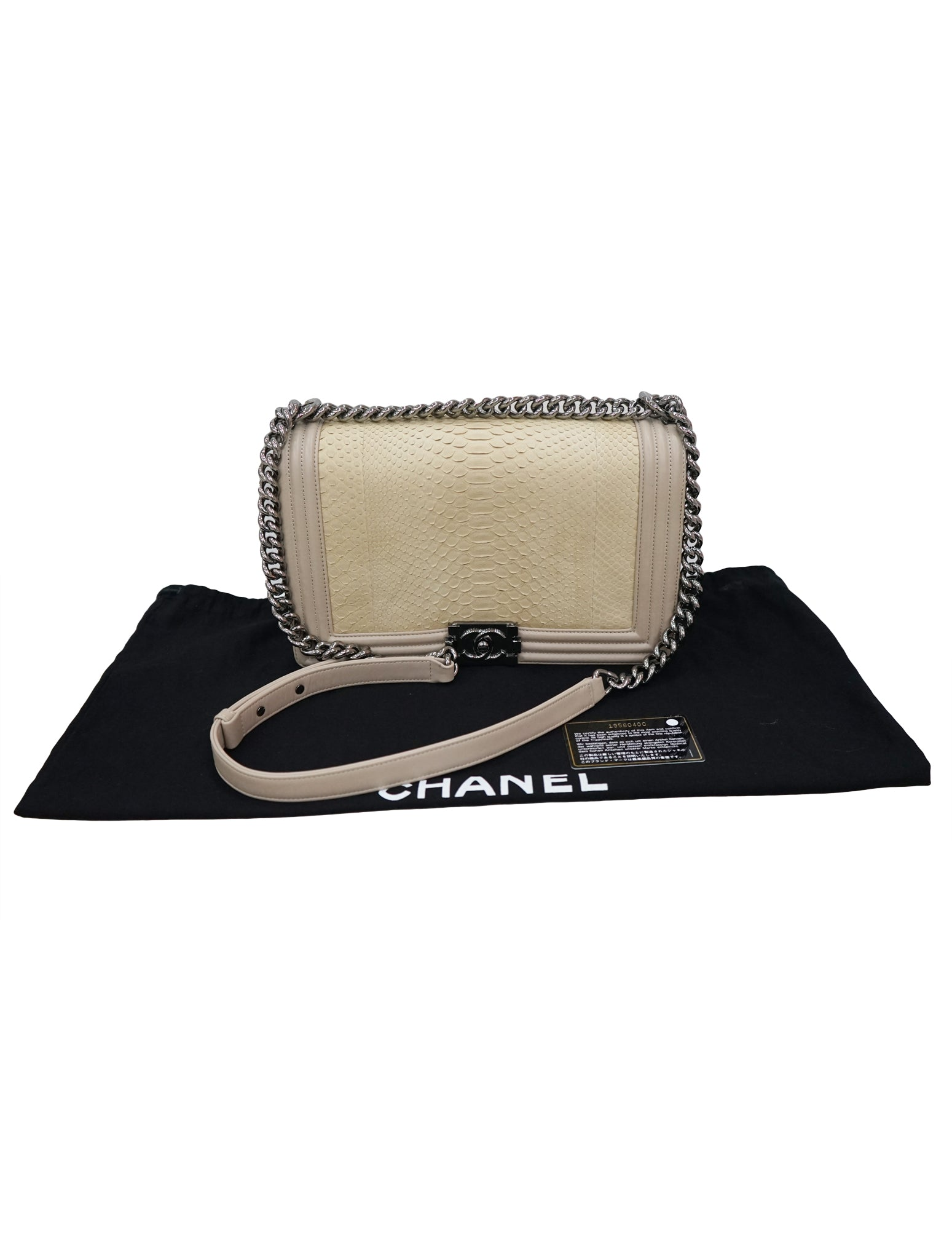 57a0e1a3ce2a CHANEL CHAMPAGNE PYTHON MEDIUM BOY BAG – Kidsstyleforless