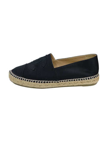 BLACK SATIN ESPADRILLES