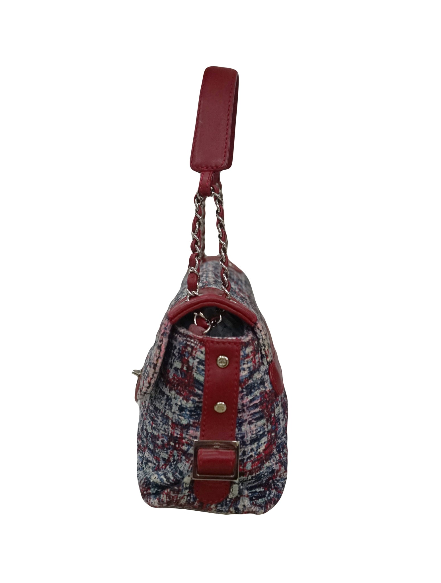 RED CHAIN TWEED LEATHER SHOULDER BAG