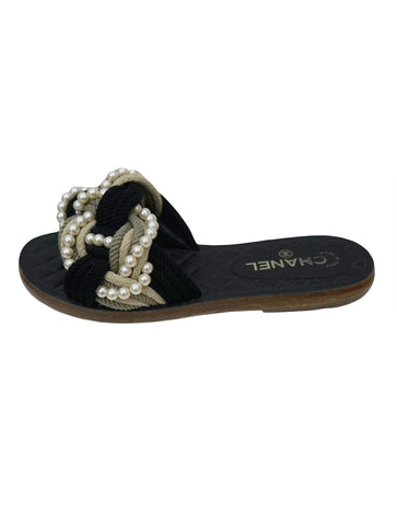 TWO TONE ROPE W/ FAUX PEARLS CUBA SANDALS