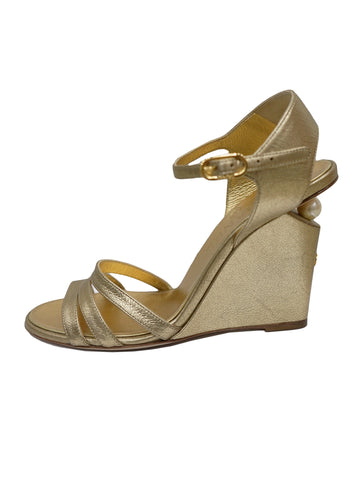 GOLD PEARL WEDGE ANKLE STRAP SANDALS