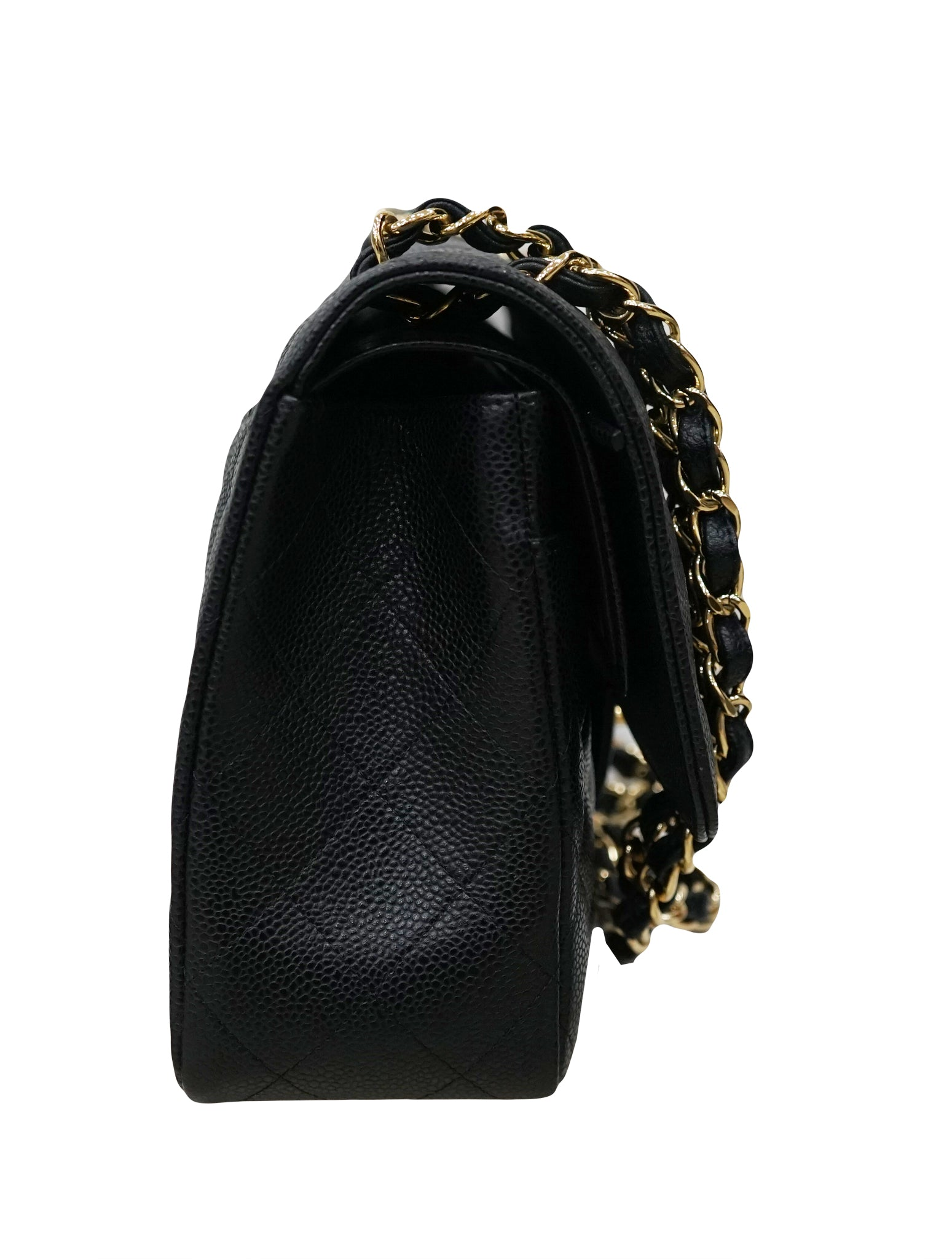 QUILTED CAVIAR LEATHER DOUBLE FLAP