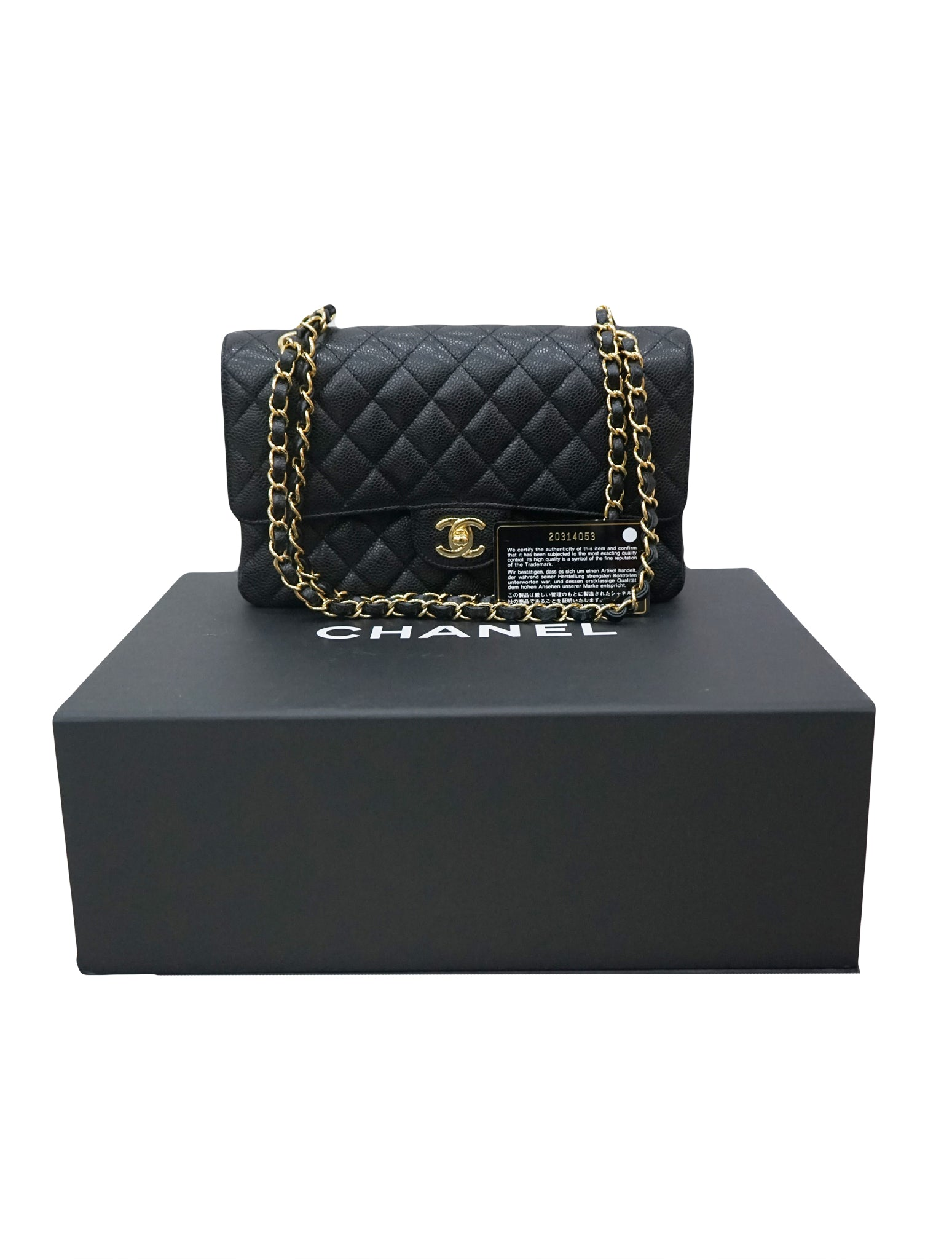 QUILTED CAVIAR LEATHER DOUBLE FLAP BAG