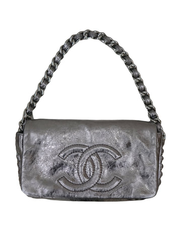 METALLIC CC CHAIN FLAP SHOULDER BAG