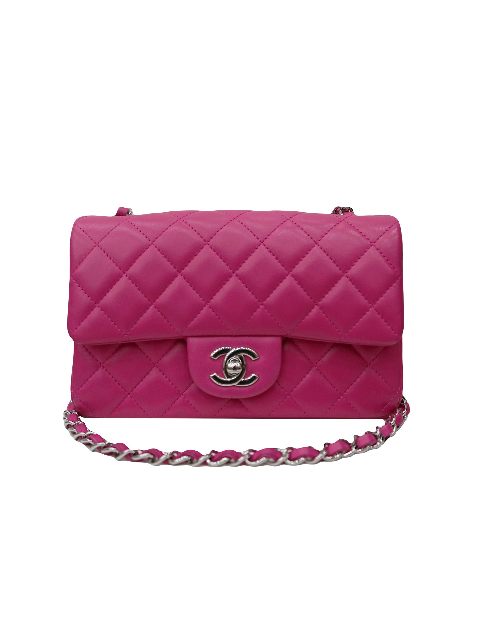PINK QUILTED LAMBSKIN SINGLE FLAP BAG