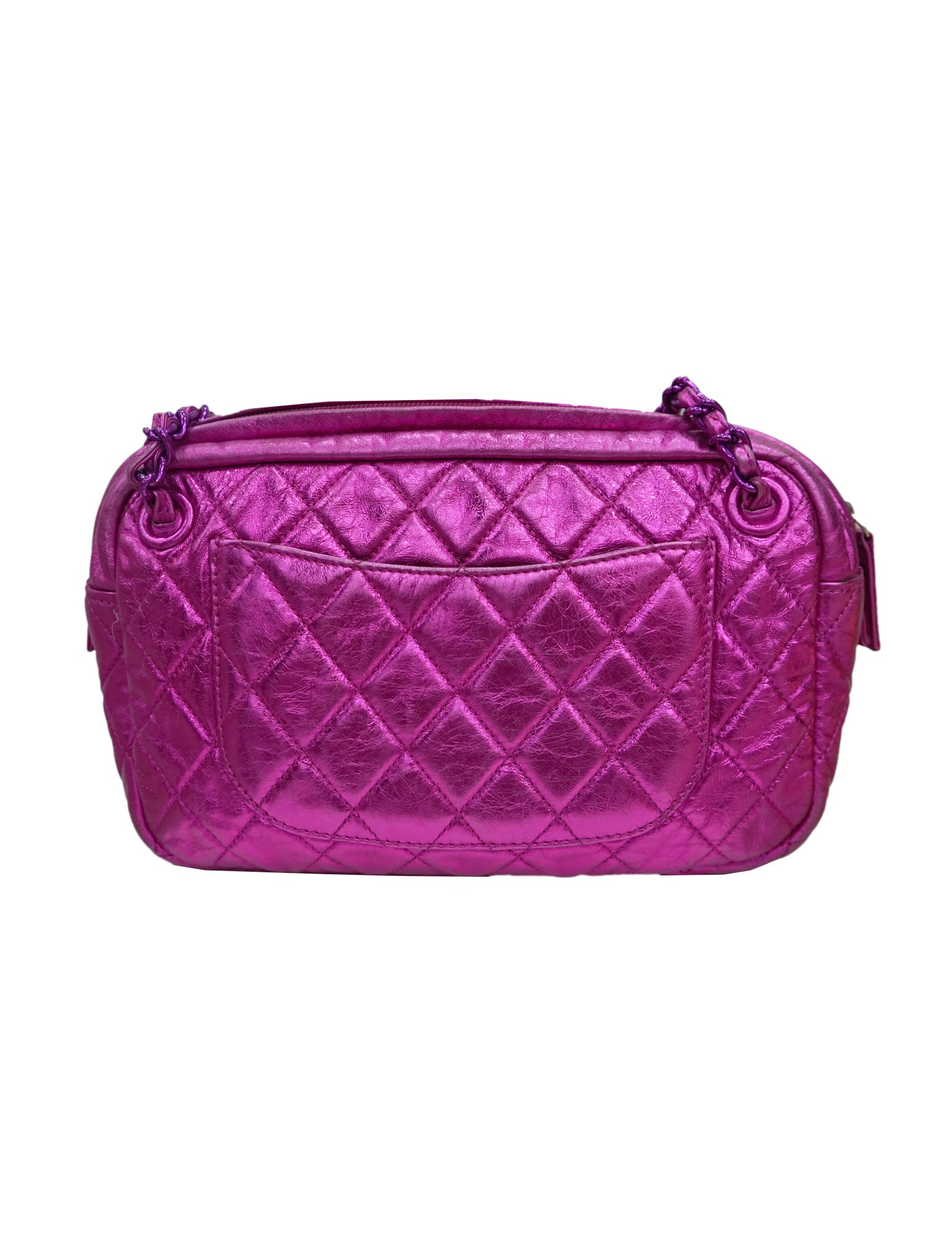 PINK LEATHER MODERN CHAIN SHOULDER BAG