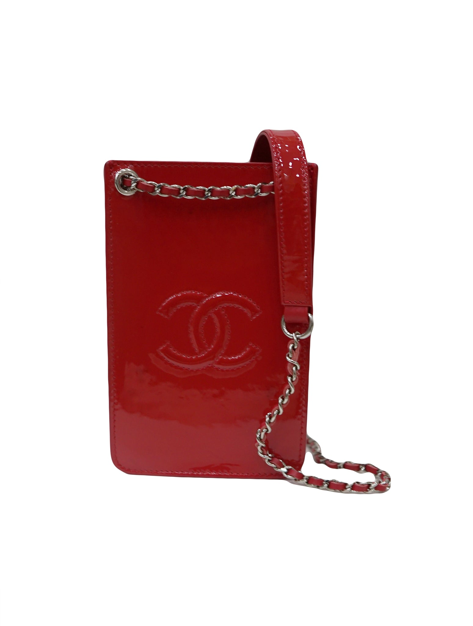 RED PATENT LEATHER CHAIN PHONE HOLDER