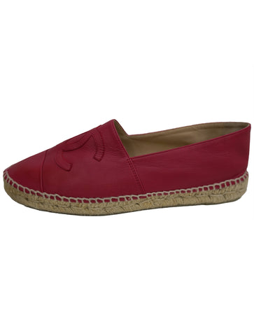 RED LEATHER ESPADRILLES FLATS