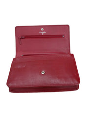 RED LEATHER WOC CAMELLIA CLUTCH