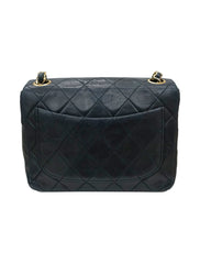 BLACK LEATHER SQUARE VINTAGE MINI FLAP