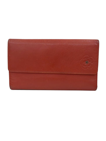 ORANGE LEATHER CC CAMELIA FLAP WALLET