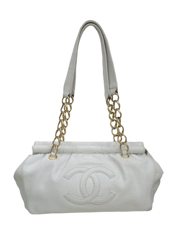 WHITE LEATHER CC STITCHED CHAIN BAG