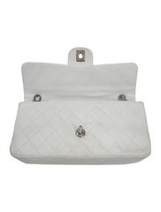 WHITE LEATHER VINTAGE SMALL CLASSIC FLAP BAG