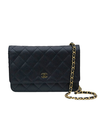 BLACK CAVIAR LEATHER WALLET ON CHAIN