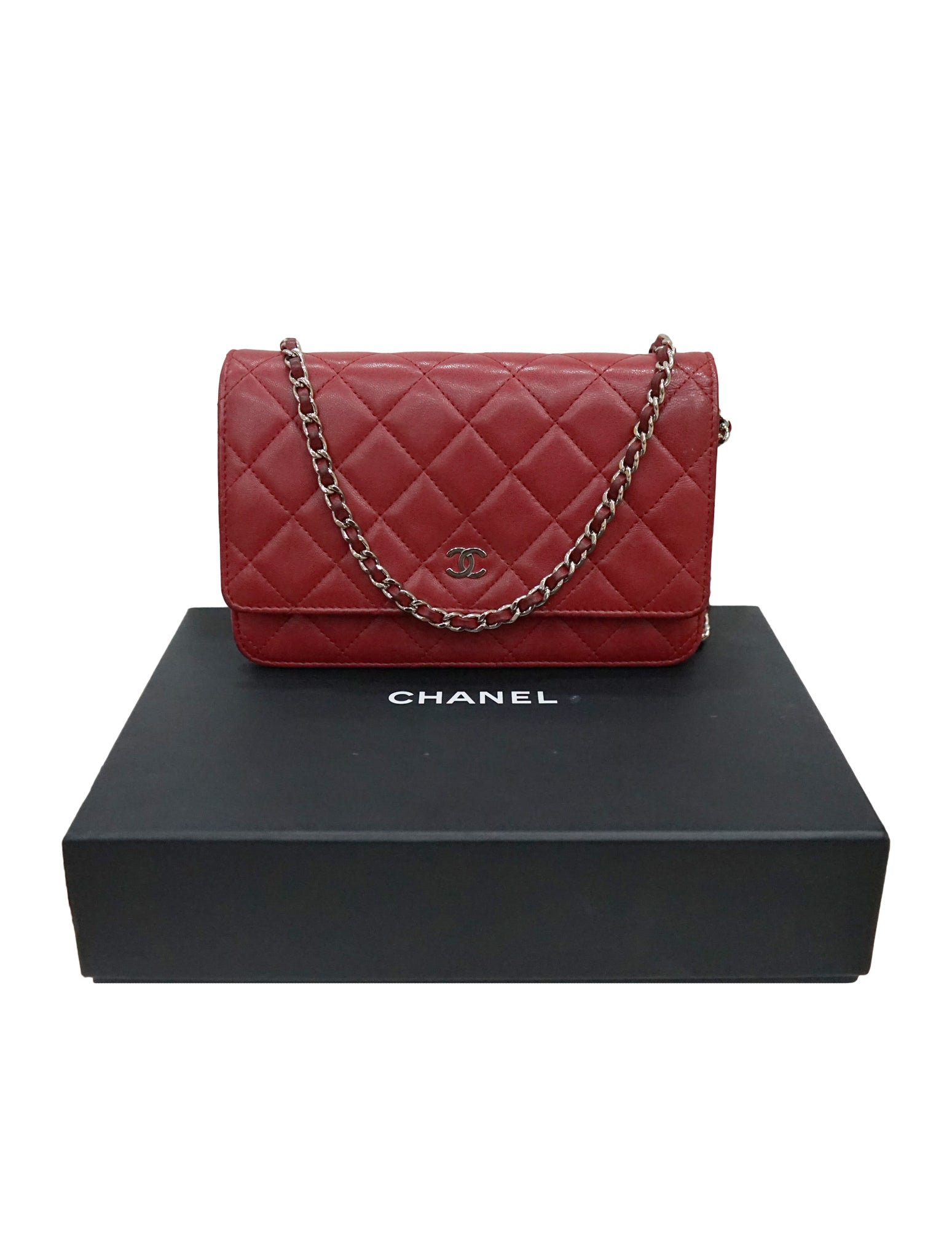 RED QUILTED LEATHER WOC CLUTCH BAG