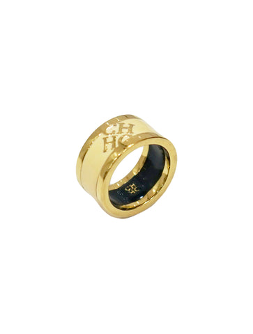 CH ENAMEL IVORY GOLD TONE BAND RING