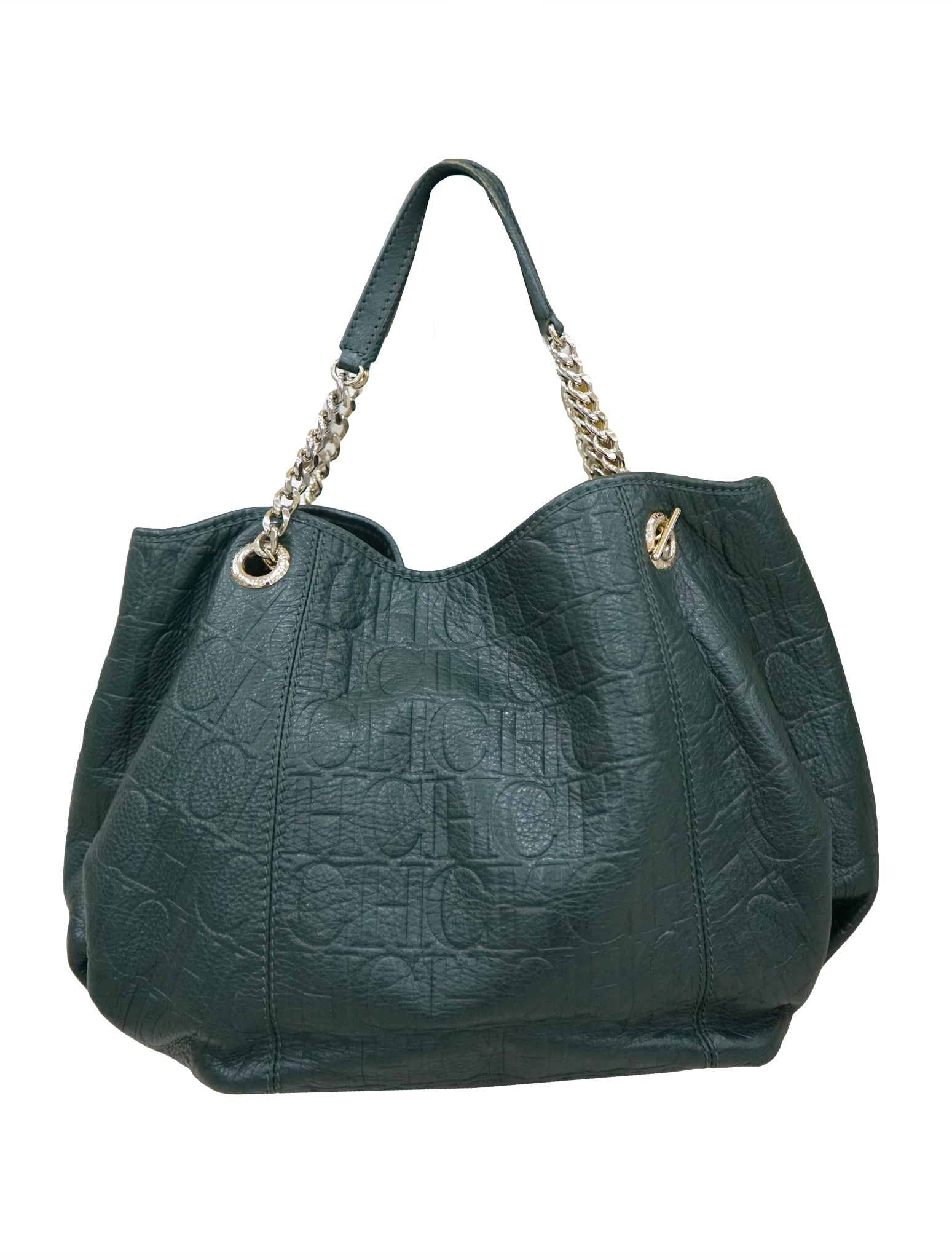 Carolina Herrera Green Monogram Leather Audrey Tote Style For Less