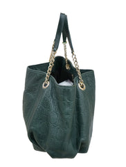 GREEN MONOGRAM LEATHER AUDREY TOTE