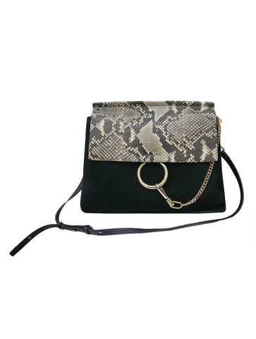 PYTHON SUEDE & LEATHER FAYE SHOULDER BAG