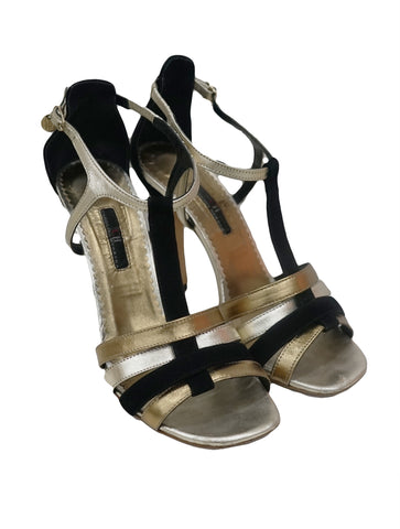 STRAPPY SUEDE METALLIC SANDALS