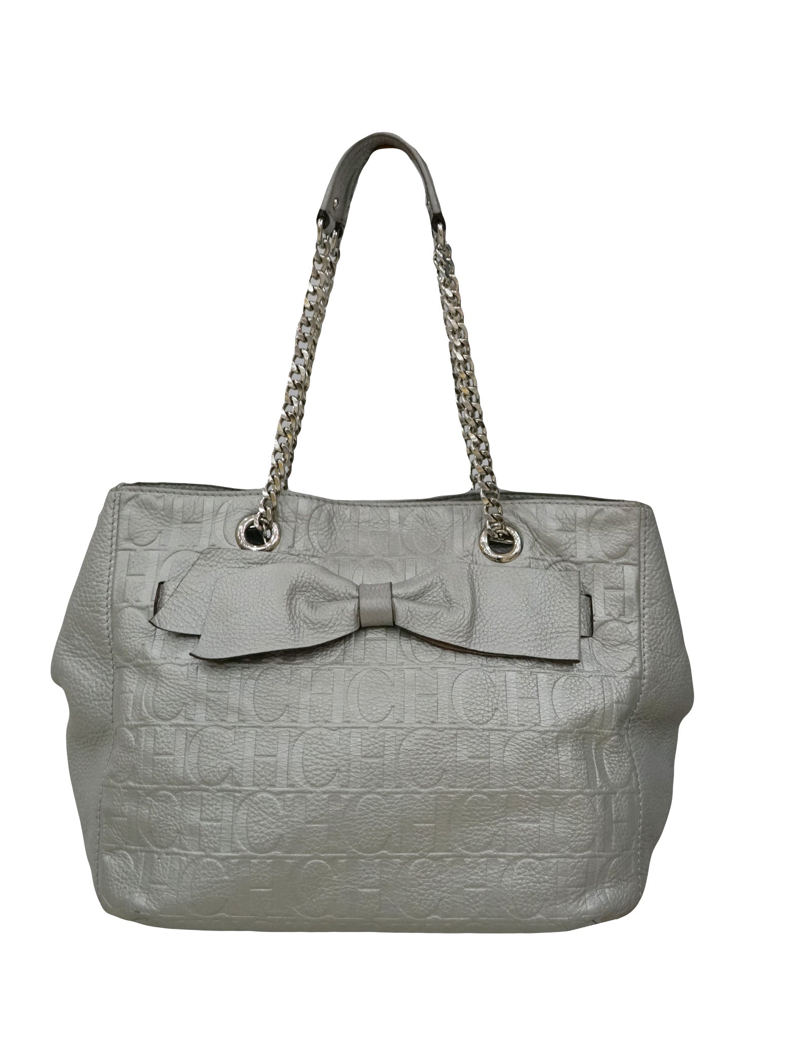 SILVER MONOGRAM EMBOSSED TOTE BAG