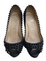 BLACK LEATHER LADY PEEP SPIKES - kidsstyleforless
