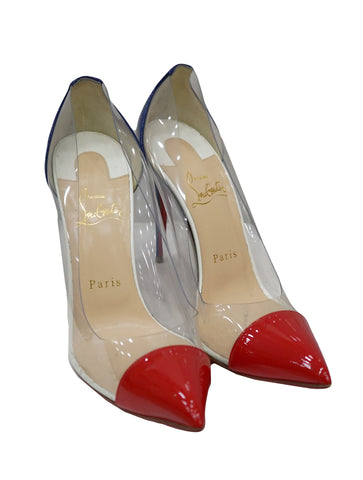 RED BLUE PVC DEBOUT POINTED PUMPS