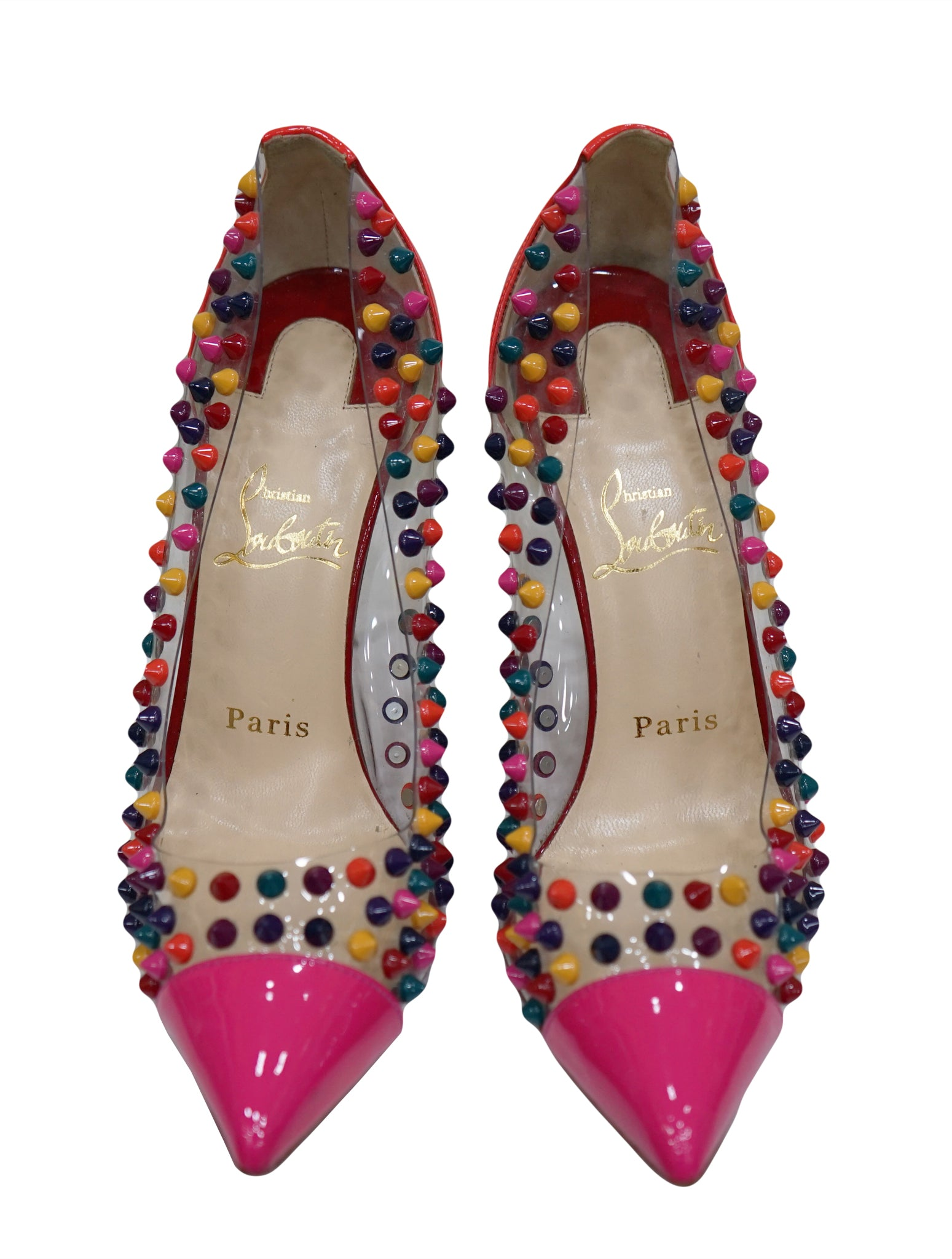 MULTICOLOR STUDDED PVC SPIKE PUMPS