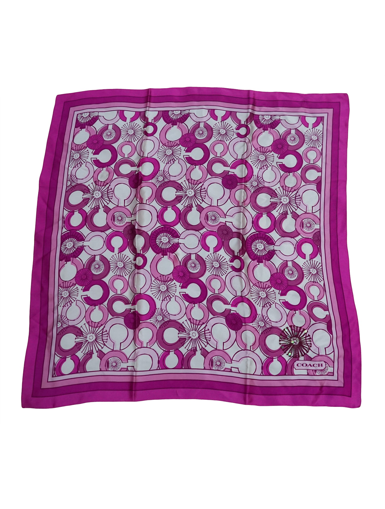 PINK PRINTED SILK SQUARE SCARF