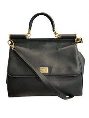 BLACK LEATHER MEDIUM MISS SICILY TOTE - kidsstyleforless