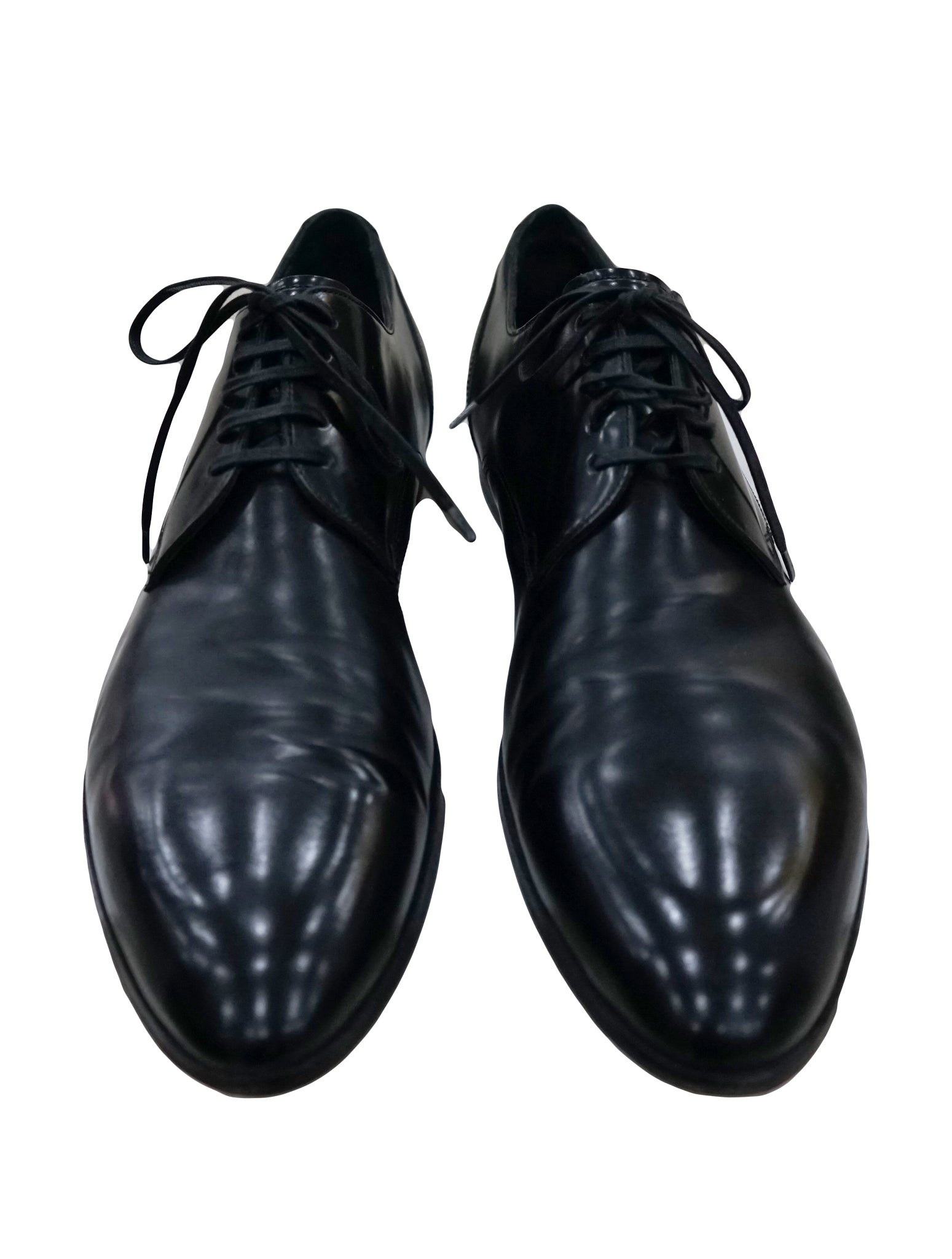 BLACK LEATHER POINTED TOE LACE UP SHOES