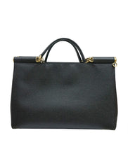 BLACK LEATHER LARGE MISS SICILY BAG