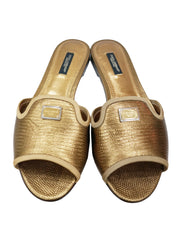 GOLD LEATHER IGUANA FLATS