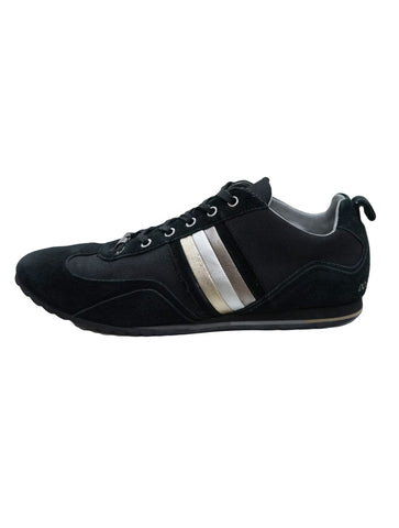 BLACK LEATHER METALLIC STRIPES SNEAKERS